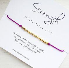 STRENGTH Morse Code Bracelet by Lovassion on Etsy