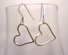 Sterling Silver Heart Earrings by LobeliaBlueJewellery on Etsy, £12.00