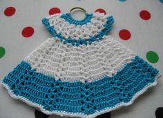 Crochet Dress Vintage Style Pot Holder #crochet#potholder#vintage style#misi