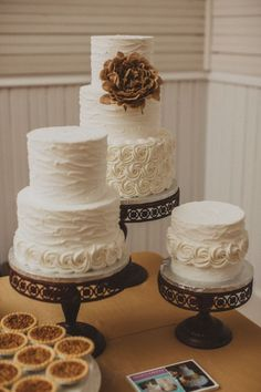 Featured Photographer: Mercedes Morgan Photography; Simply classic white textured wedding cakes