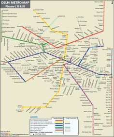 Delhi Metro Map offers information about the metro network of the city in India. Delhi Metro Map indicates the names of the metro stations its routes and shows the names of the places that are connected by Delhi metro. Metro Rail Map, Metro Map, Delhi Map, Delhi City, Transport Map, Public Transport, Brighton Map, Nyc Subway Map, Cute Baby Quotes