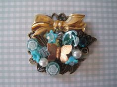 Shades of Blue Brooch by wynbrit on Etsy, $32.00