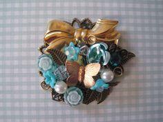 Shades of Blue Brooch by wynbrit on Etsy, $32.00