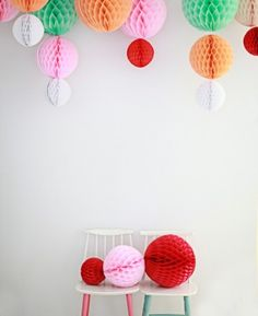 honeycomb balls for window display / gallery space