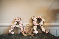 Letter Flowers Initials Classic Country House Black Gold Blush Wedding http://www.camillarosa.co.uk/
