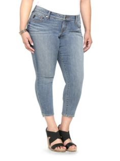Torrid Cropped Skinny Jean - Medium Wash with Ankle Bow