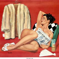 """Al Brule - """"The Heat's On"""" - July 1959 Brown & Bigelow Calendar done for Persian Palms in Minneapolis MN"""