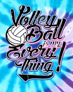 Volleyball is my everything! Bright neon blue/purple tie-dye volleyball t-shirt. * Cute neon volleyball design available on tie-dye short sleeve t-shirts. Adult and Youth sizes available.