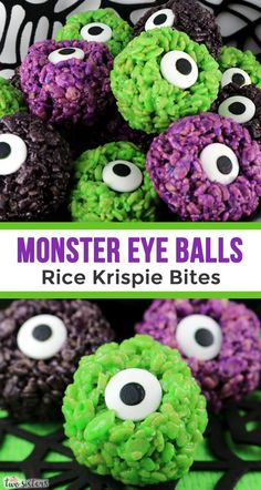 Monster Eye Balls Rice Krispie Bites – these yummy, bite-sized balls of crunchy, marshmallow-y delight have a creepy monster eye that is sure to scare the kids! This Halloween dessert is easy to make and even better to eat. Halloween Brownies, Halloween Donuts, Halloween Cake Pops, Halloween Torte, Halloween Backen, Dessert Halloween, Halloween Party Snacks, Fete Halloween, Halloween Birthday