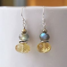 Citrine Labradorite Gemstone Sterling Silver Hoop Drop Earrings Dangle Gold Color Flashing Blue Green Yellow by DJStrang on Etsy