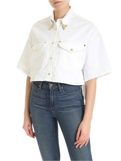 Versace Jeans Couture Crop White Shirt With Details Cropped White Shirt, Crop Shirt, Denim Shirt, Versace Jeans Couture, Stretch Denim, Couture Fashion, World Of Fashion, Colorful Shirts, Your Style