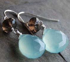 Aqua and Brown Earrings Chalcedony and Smoky by hamptonjewels, $24.00