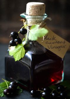 Blackcurrant Vinegar: Rich, dark and seriously tasty on robust salads and roasted veggies. Currant Recipes, Dips, Black Currants, Fruit And Veg, Fresh Fruit, Canning Recipes, Fruit Recipes, Food Gifts, Home Canning