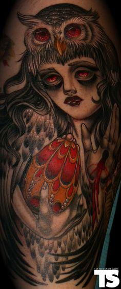 OWL WOMAN TATTOO | Owl woman tattoo by Cristina Garcia