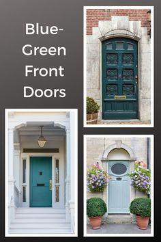 Teal, aqua, and blue-green front doors #frontdoor #paintedfrontdoor #curbappeal #colorfuldoors #entry #entryideas #frontdoorideas Best Front Door Colors, Green Front Doors, Yellow Doors, Exterior Light Fixtures, Exterior Lighting, Exterior Paint Colors, Exterior Design, Roof Colors, Yellow Houses