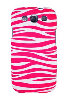 Graphic Rubberized Shield Hard Case for Samsung Galaxy S3 - Pink/White Zebra