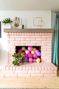 Balloons in the fireplace!