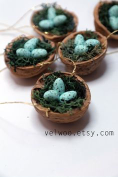 Set of Bird Nest Ornaments Christmas Tree, bird eggs, Woodland Holiday Decor, Decoration Tabletop Display, Stocking Stuffer hanging ornament