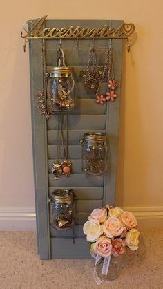 Tutorial - How to make a Upcycled Shutter into a Jewellery Holder using Annie Sloan Paint and Kilner Jars. Hillarys Blinds, Old Wooden Shutters, Kilner Jars, Annie Sloan Paints, Shop Window Displays, Jar Crafts, Jewelry Holder, Upcycle, Jewellery