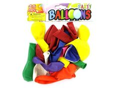 Party Balloons, 72 - Great for birthdays, baby showers, graduations and more, this colorful 25-piece Party Balloons Set adds fun and whimsy to parties of all kinds. For ages 8 and up. Comes packaged in a poly bag with a header card.-Colors: yellow,green,blue,red,purple,orange,pink. Material: latex. Weight: 0.0691/unit