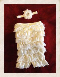 Ivory Lace Petti romper nb-9m. $26.00, via Etsy.