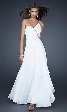 A-Line Chiffon One-Shoulder Long Dress Charm89305