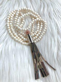 Camo Tassel Necklace – Madison+Barrett Winter White, Camouflage, Tassel Necklace, Tassels, Hair Accessories, Rose Gold, Beads, Leather, Jewelry