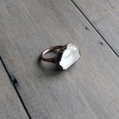 Quartz Ring Crystal Ring Gemstone Ring Mineral Ring Rough Stone Ring Ice Natural Artisan Handmade Copper Gemstone Jewlery for Her. $75.50, via Etsy.