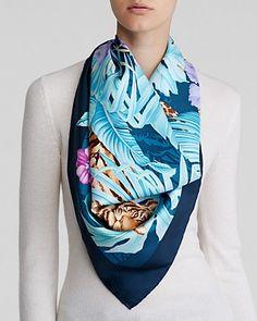 Salvatore Ferragamo Fiamma Print Silk Scarf   Bloomingdale's