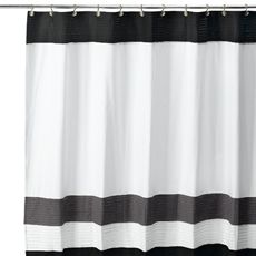 Beautiful Color Block Gray Fabric Shower Curtain