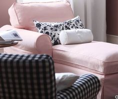 Powdery pink chaise lounge with black accents