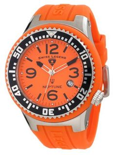 Swiss Legend Men's 21848P-06 Neptune Orange Dial Orange Silicone Watch Swiss Legend. $124.94. Date function at 4:00. Swiss quartz movement. Orange dial with silver tone and black hands, black hour markers and arabic numerals; luminous; unidirectional stainless steel bezel with black ring and silver tone arabic numerals; screw-down crown. Water-resistant to 100 M (330 feet). Mineral crystal with sapphire coating; stainless steel case with orange silicone cover and strap