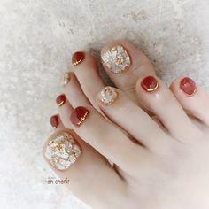 Korean Nail Art, Korean Nails, Simple Nail Art Designs, Toe Nail Designs, Summer Holiday Nails, Feet Nail Design, Cute Pedicures, Pretty Toe Nails, Nail Charms