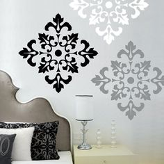 Damask Pattern wall decal stickers large wall by wordybirdstudios