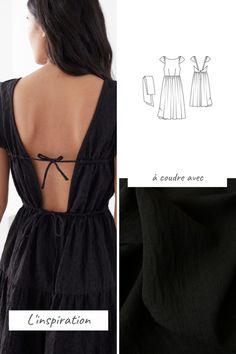 Découvrez notre sélection de patrons et tissus pour coudre une robe dos nu inspirée des marques Coin Couture, Couture Sewing, Dress Sewing Patterns, Clothing Patterns, Diy Clothes Design, Diy Fashion, Fashion Outfits, Diy Vetement, Diy Dress