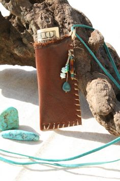 Brown Leather Pouch or Medicine Bag for Carrying Money, Stones, Love Notes, Treasures or Trinkets. $22.00, via Etsy.