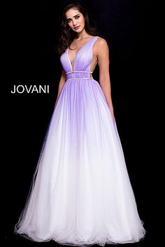 White Purple Backless Tulle Prom Ballgown 60247