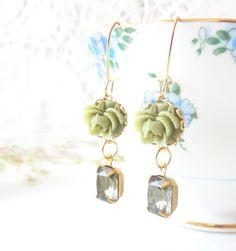 Vintage Jewel and Flower Earrings   Black Diamond by NestingPretty, $19.00
