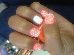 Creamsicle polka dot nails