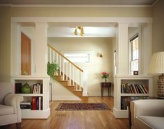 craftsman bungalow room divider shelves - Google Search