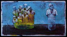 trip, 2016  Kuba Bartyński  Acrylic on cardboard  #surreal #surrealism #painting #drawing #malarstwo #ilustracja #artminiatory