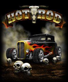Hot Rod Illustration Illustration for t-shirts.