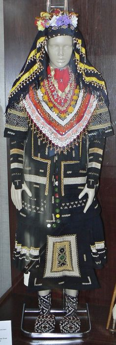 A traditional bridal costume of the Karakatsani.  From Karnobat (Burgas province, southeastern Bulgaria), early 20th century.  The Sarakatsan people were Greek traditionally nomadic sheep and goat herders found in Bulgaria, Greece and the former Yugoslav Republic of Macedonia.  (Ethnographic Museum of Burgas, Bulgaria).