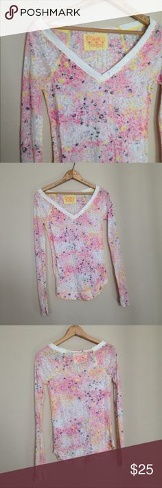 🌿Free People Floral Henley Adorable semi sheer floral patterned burnout henley. Snug fitting. Buttons and holes are just ornamental. In good used condition (small stain near v point  as shown in last picture) Free People Tops