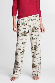 Ivory Winter Scene Flannel Sleep Pants from Lands' End