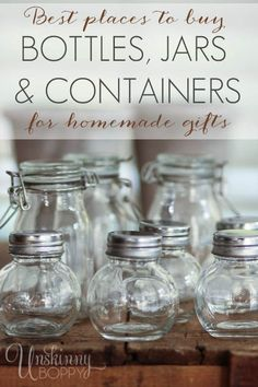Resources for Handmade Gifts- best place to buy bottles, jars, containers, supplies for DIY essential oil gifts Young Living Oils, Young Living Essential Oils, Just In Case, Just For You, Mason Jar Wine Glass, Jar Gifts, Food Gifts, Bottles And Jars, Mason Jar Crafts