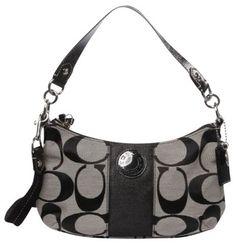 Coach Nwt Signature C Stripe Demi Crossbody 23544 Black/silver Shoulder Bag $134