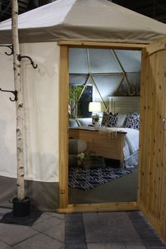 Yurta.ca at Canada Blooms in Toronto March 13-22. Upstaged Interiors & Harmony House & Home design. Tiny House Movement, Diy Camping, Tiny Living, Wardrobe Rack, Yurts, Comfy, House Design, Small Homes, Van Life