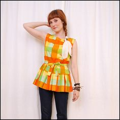 60s peplum pleated top.