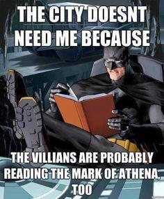Batman and Rick Riordan joke.